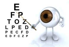 Μάτι με τα όπλα και τα πόδια που εμφανίζουν τις επιστολές του πίνακα optometr Στοκ φωτογραφία με δικαίωμα ελεύθερης χρήσης