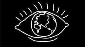 Μάτι με τη γήινη σφαίρα ως 2$α ζωτικότητα σχεδίων βολβών του ματιού φιλμ μικρού μήκους