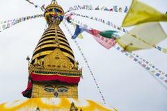 Μάτι του Βούδα σε Swayambhunath, Νεπάλ Στοκ Εικόνες