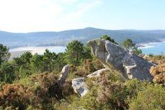 Μάτι Birdπέρα από το αμμώδες νησί από το δύσκολο απότομο βράχο Στοκ φωτογραφία με δικαίωμα ελεύθερης χρήσης