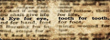 Μάτι Scripture για ένα δόντι ματιών για μια παλαιά διαθήκη δοντιών στοκ φωτογραφία με δικαίωμα ελεύθερης χρήσης