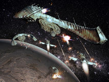 Μάχη στο διάστημα διανυσματική απεικόνιση