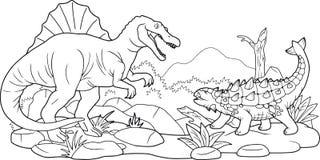 Μάχη της Dino, χρωματίζοντας βιβλίο Στοκ εικόνα με δικαίωμα ελεύθερης χρήσης