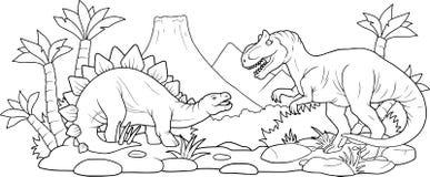 Μάχη δύο τεράστιων δεινοσαύρων διανυσματική απεικόνιση