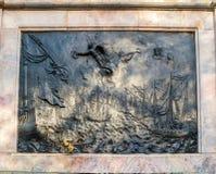 Μάχη bas-ανακούφισης χαλκού Gangut στο ιππικό μνημείο χαλκού στο Peter Ι σε Άγιο Πετρούπολη, Ρωσία Στοκ Εικόνα
