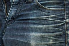 Μάλλον παλαιός μπλε Jean έχει τις συστάσεις λωρίδων και φερμουάρ Στοκ φωτογραφίες με δικαίωμα ελεύθερης χρήσης