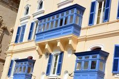 Μάλτα, Valletta, χαρακτηριστικό μπαλκόνι της Μάλτας Στοκ Εικόνες