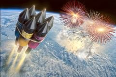 Μέγα κόμμα με το μεγάλο πύραυλο στοκ φωτογραφία με δικαίωμα ελεύθερης χρήσης