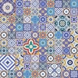 Μέγα πανέμορφο άνευ ραφής σχέδιο προσθηκών από τα ζωηρόχρωμα μαροκινά κεραμίδια, διακοσμήσεις διανυσματική απεικόνιση