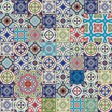 Μέγα πανέμορφο άνευ ραφής σχέδιο προσθηκών από τα ζωηρόχρωμα μαροκινά, πορτογαλικά κεραμίδια, Azulejo, διακοσμήσεις Στοκ φωτογραφία με δικαίωμα ελεύθερης χρήσης