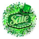 Μέγα πώληση ημέρας του ST Πάτρικ ` s υποβάθρου Πλαίσιο πράσινου φωτός με το καπέλο leprechaun και τριφύλλι στο άσπρο υπόβαθρο διά Στοκ Φωτογραφία