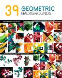Μέγα συλλογή των γεωμετρικών αφηρημένων προτύπων υποβάθρου - το σχέδιο γραμμών, τετραγώνων, ορθογωνίων και βελών σχεδιάζει τα στο Στοκ Εικόνα
