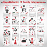 Μέγα συλλογή του σύγχρονου origami δέκα infographic Στοκ εικόνα με δικαίωμα ελεύθερης χρήσης