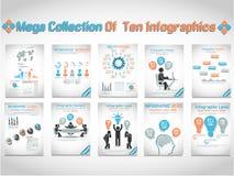 Μέγα συλλογή του infographic επιχειρησιακού δέκα ατόμου Στοκ φωτογραφία με δικαίωμα ελεύθερης χρήσης