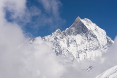 Μέγιστη, ιερή και εικονική αιχμή βουνών Machapuchre Annapurna bas Στοκ Εικόνες