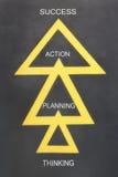 Μέθοδοι επιτυχίας με τρία κίτρινα τρίγωνα Στοκ Εικόνες