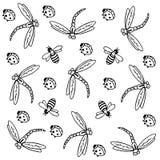 Μέλισσα, λιβελλούλη και ladybug υπόβαθρο ελεύθερη απεικόνιση δικαιώματος