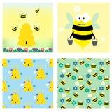 Μέλισσες και συλλογή μελιού Δύο κάρτες και άνευ ραφής σχέδιο δύο Στοκ φωτογραφία με δικαίωμα ελεύθερης χρήσης