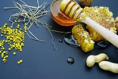 Μέλι και κηρήθρα σε ένα μαύρο υπόβαθρο Στοκ φωτογραφία με δικαίωμα ελεύθερης χρήσης