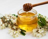 Μέλι με τα άνθη ακακιών στοκ εικόνες με δικαίωμα ελεύθερης χρήσης