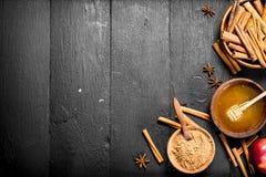 Μέλι με την κανέλα και τη φρέσκια Apple Στοκ Εικόνες