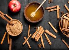 Μέλι με την κανέλα και τη φρέσκια Apple Στοκ εικόνα με δικαίωμα ελεύθερης χρήσης