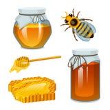 Μέλι στο βάζο, τη μέλισσα και την κυψέλη, το κουτάλι και την κηρήθρα, την κυψέλη και το μελισσουργείο Φυσικό αγροτικό προϊόν μελι Στοκ εικόνα με δικαίωμα ελεύθερης χρήσης