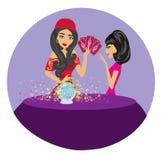 Μέλλον ανάγνωσης γυναικών αφηγητών τύχης στη μαγική σφαίρα κρυστάλλου διανυσματική απεικόνιση