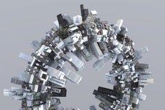 μέλλον πόλεων ουτοπιστικό Στοκ Εικόνα