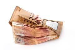 Μέντα των χρημάτων Πολύς ρωσικά ρούβλια στο πορτοφόλι Στοκ Φωτογραφίες