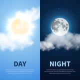 Μέρα και νύχτα διανυσματικό υπόβαθρο χρονικής έννοιας με τα εικονίδια φεγγαριών ήλιων Στοκ Φωτογραφία