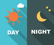 Μέρα και νύχτα μακριά σκιά επίπεδη Στοκ φωτογραφίες με δικαίωμα ελεύθερης χρήσης