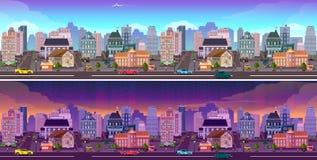 Μέρα και νύχτα πανόραμα πόλεων Στοκ Εικόνα