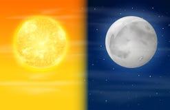Μέρα και νύχτα στον ουρανό απεικόνιση αποθεμάτων