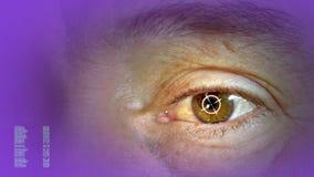 Μέρη ανθρώπινου σώματος Ανθρώπινη κινηματογράφηση σε πρώτο πλάνο ματιών Οθόνη πέρα από το μάτι φουτουριστική διεπαφή υψηλής τεχνο απόθεμα βίντεο