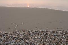 μέρη αντιγράφων παραλιών περίκομψα πέρα από την αμμώδη ακτή θαλασσινών κοχυλιών seafoam διαστημική αυτοί τρία που πλένουν Στοκ Φωτογραφίες