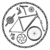 Μέρη ποδηλάτων που απομονώνονται στο άσπρο υπόβαθρο Στοκ Εικόνες