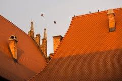 Μέρη της κόκκινης στέγης ενός μεσαιωνικού κτηρίου στην Ευρώπη Στοκ Φωτογραφία