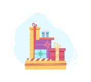 Μέρη των κιβωτίων δώρων για τα Χριστούγεννα διανυσματική απεικόνιση