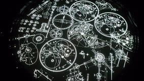 Μέρη constructin ρολογιών γραφικά στο Μαύρο και το φως στοκ φωτογραφίες