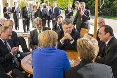 Μέρκελ, Πούτιν, Poroshenko και Ολλάντ Στοκ Φωτογραφίες