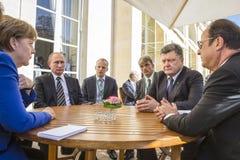 Μέρκελ, Πούτιν, Poroshenko και Ολλάντ Στοκ Εικόνες