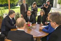 Μέρκελ, Πούτιν, Poroshenko και Ολλάντ Στοκ Εικόνα