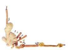 Μέρος ενός πλαισίου των διαφορετικών καρυκευμάτων και των καρυδιών Στοκ Εικόνα