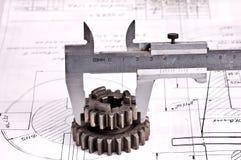 μέρος εφαρμοσμένης μηχανικής σχεδίων παχυμετρικών διαβητών Στοκ φωτογραφία με δικαίωμα ελεύθερης χρήσης