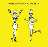 Μέρος 1 κοριτσιών δερματοστιξιών εικονιδίων γυναικών μόδας doodles μοντέρνη κυρία Στοκ Εικόνες