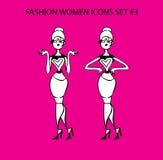 Μέρος 1 κοριτσιών δερματοστιξιών εικονιδίων γυναικών μόδας doodles μοντέρνη κυρία Στοκ εικόνες με δικαίωμα ελεύθερης χρήσης