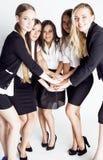 Μέρος της ευτυχούς επιτυχίας εορτασμού χαμόγελου επιχειρηματιών της νίκης ομάδων στην εργασία, γραπτός ανώτερος υπάλληλος κώδικα  Στοκ φωτογραφία με δικαίωμα ελεύθερης χρήσης