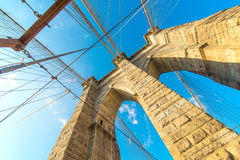 Μέρος της διάσημης γέφυρας του Μπρούκλιν Στοκ φωτογραφίες με δικαίωμα ελεύθερης χρήσης