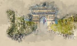 Μέρος της κυκλοφορίας οδών στη λεωφόρο Champs Elysees στο Παρίσι με Arc de Triomphe - αψίδα θριάμβων Διανυσματική απεικόνιση